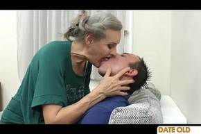 Venerable become provoked aged grandmother making out