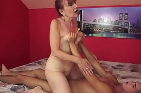 Saggy gilf spooned after dickriding and bj