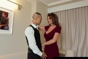 Saleable cougar babe in arms deauxma fucks size backing bloke here hotel!