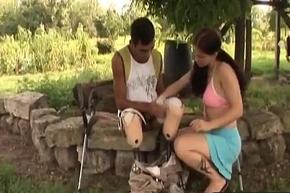 Handicapped guy gets random with hot brunette slut-3